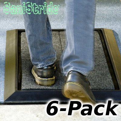 SaniStride Mat and Pad 6-Pack. Foot shoe boot sanitizing